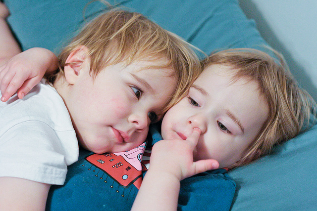 children picking their noses