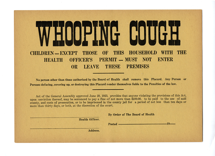 Whooping cough quarantine notice